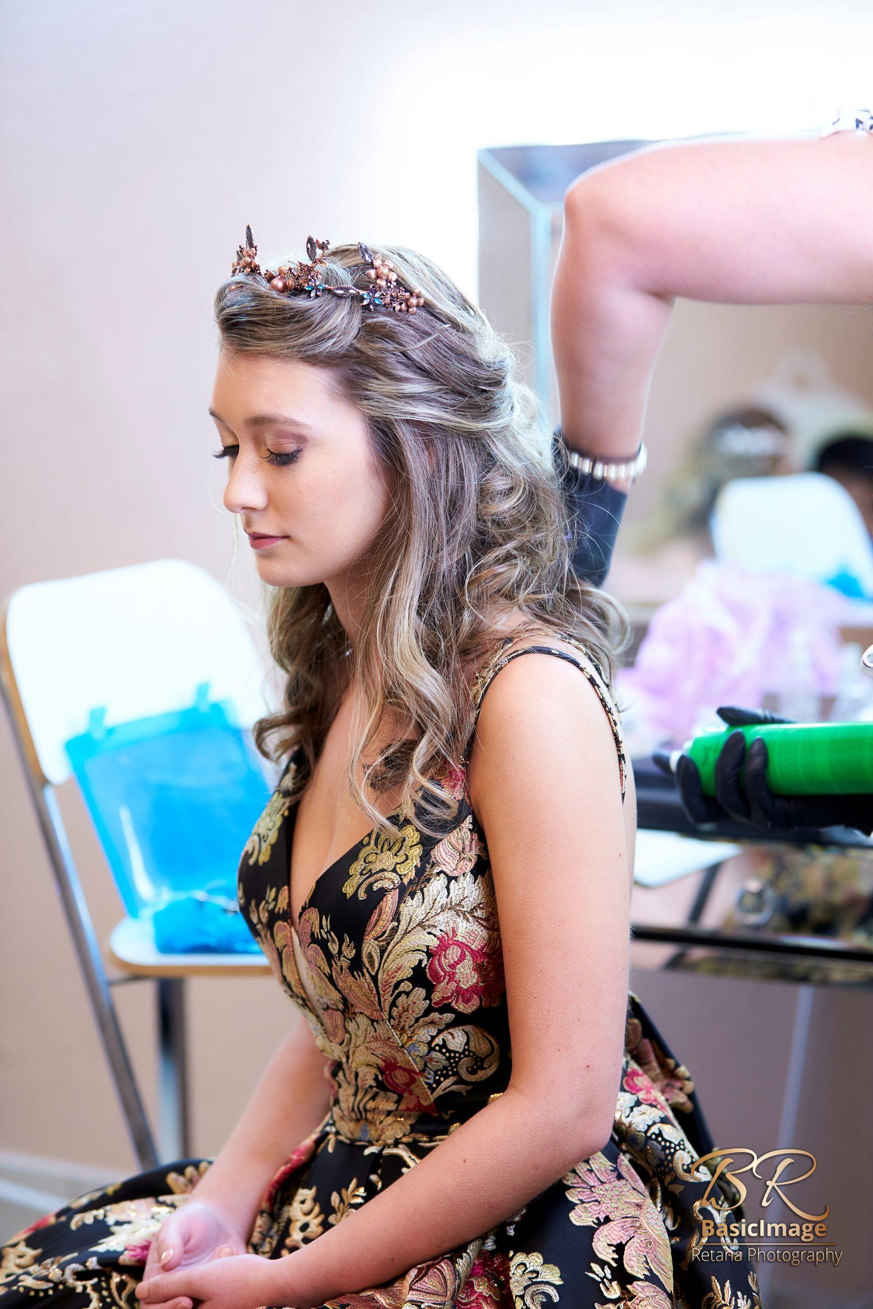 LeVenue model getting ready in VIP suite