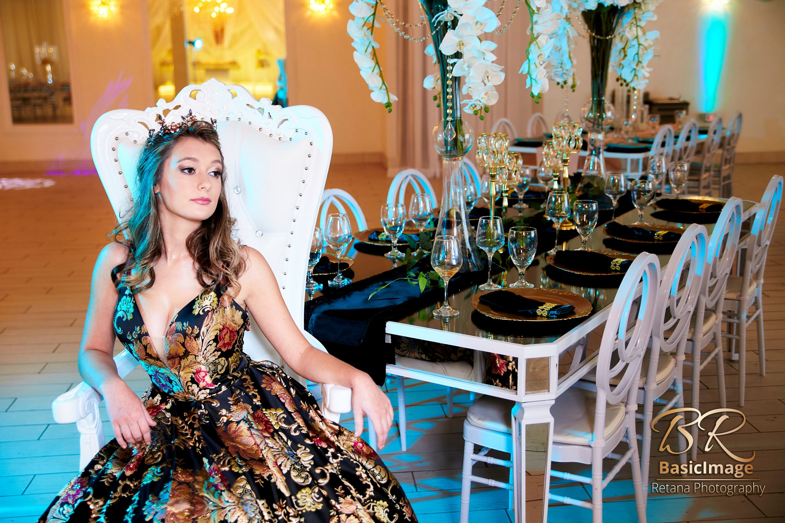 LeVenue front ballroom model pose with table and dining decor
