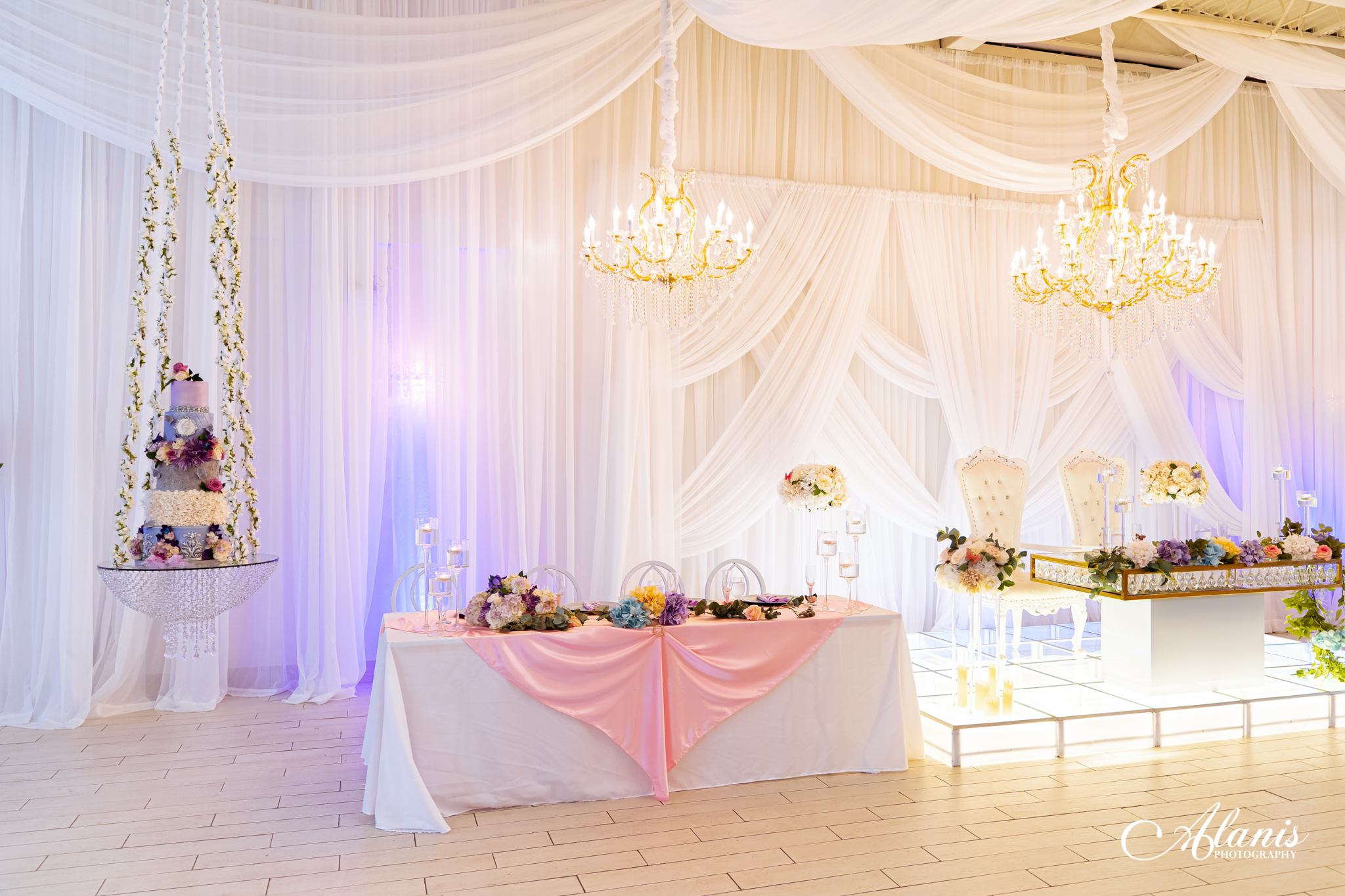LeVenue cake swing and front ballroom tables