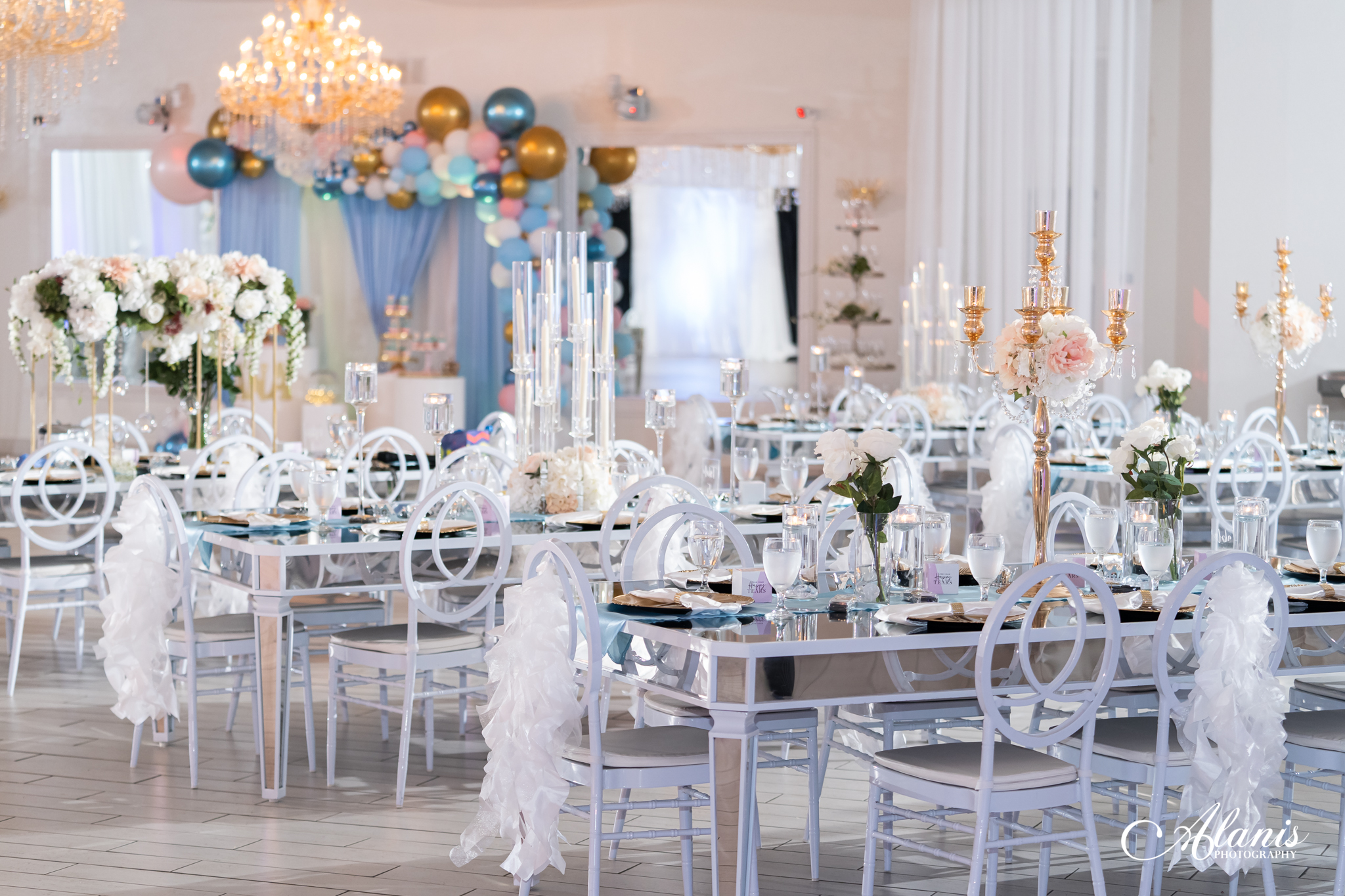 LeVenue Sweet 16 wall, dining and table decor