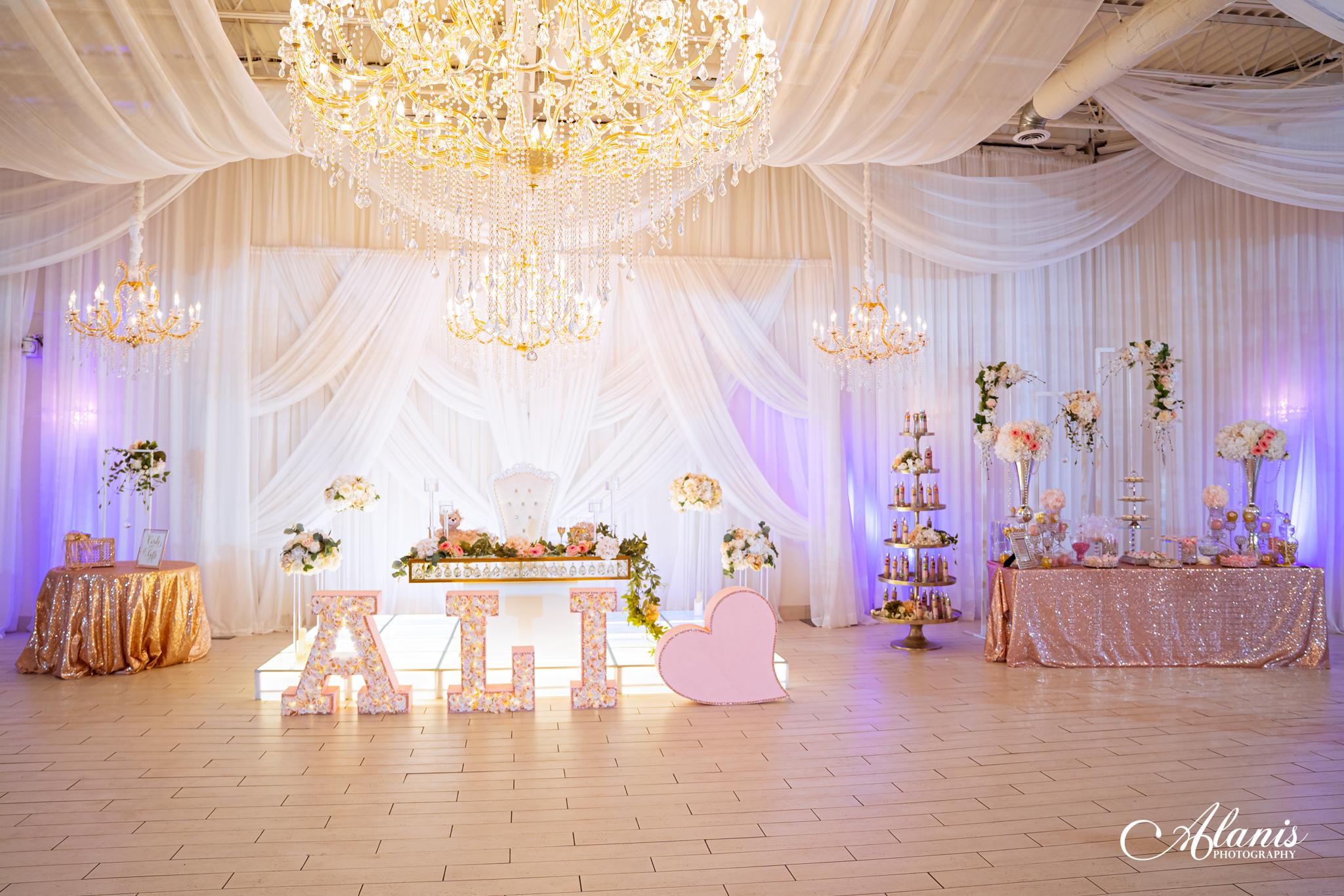 LeVenue Quinceañera front ballroom name and treat stand decor